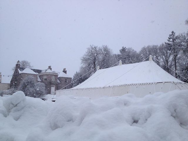 A very snowy wedding - this is one of our LPM Bohemia Traditional Canvas Pole Tents