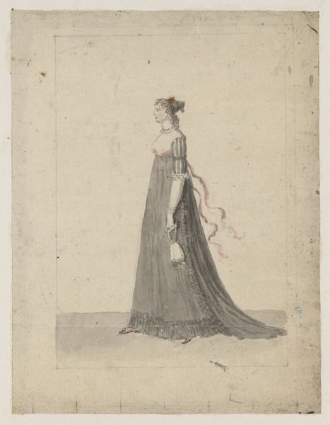 Woman in black Court dress Johan Aleander Abraham, ca 1800 (Swedish)