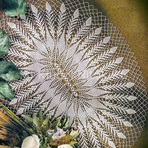 Кружевная скатерть «Листочки» |  Схемы вязания.