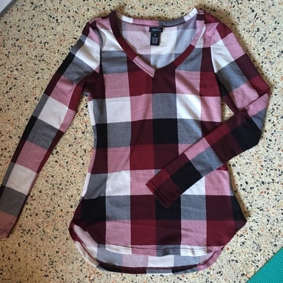NWOT Rue 21 Raspberry Plaid Tunic Tried this on once, not for me. It has a high low hemline, which is perfect for leggings! Rue 21 Tops Tunics
