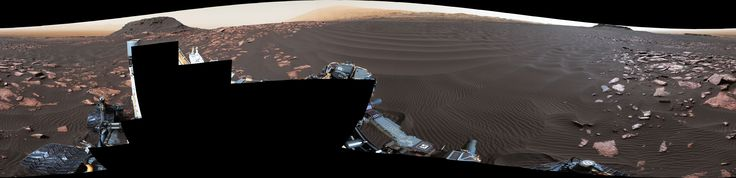 """A rippled linear dune of dark Martian sand, """"Nathan Bridges Dune,"""" dominates this full-circle panorama from the Mastcam of NASA's Curiosity Mars rover. This dune was one research stop of the mission's campaign to investigate active Martian dunes. The feature was informally named in 2017 in memory of Nathan Bridges (1966-2017), a planetary scientist who was a leader of the Curiosity team's dune campaign."""
