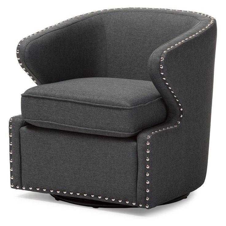 Finley Mid - Century Modern Fabric Upholstered Swivel Armchair - Gray - Baxton Studio