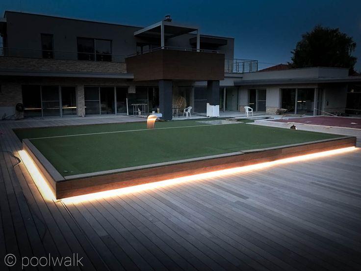 Osvetlenie záhrady a prekrytie bazéna Poolwalk.   Prekrytie bazénov pochôdznou terasou   Poolwalk