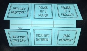 This foldable provides an overview for the following laws of exponents: Product Property Power of a Power Power of a Product Quotient Property Negative Exponent Zero ExponentUnder each tab, there is space for the rule & three examples to apply that rule.Directions & an answer key are provided.This product is also included in: Exponents & Roots(Foldable Bundle #10)The Ultimate Foldable Bundle for 8th Grade Math, Pre-Algebra, and Algebra 1!
