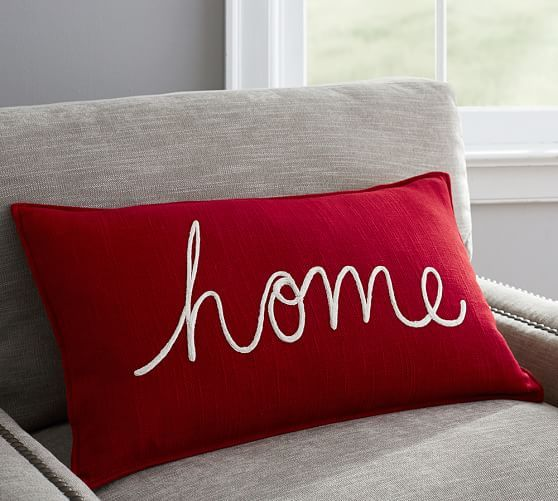 Home Embroidered Lumbar Pillow Cover | Pottery Barn  winter christmas pillow ideas
