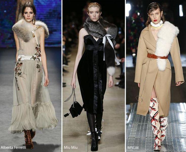 Tendenza Moda Abbigliamento Donna Inverno 2016 2017 Collo e Stola di pelliccia
