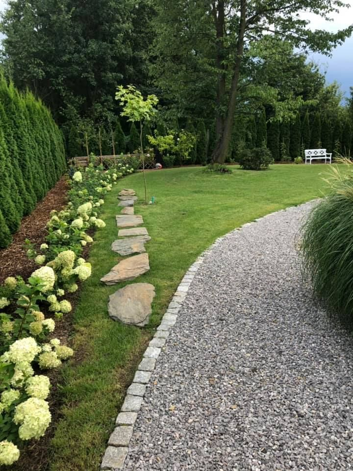 Edging For Gravel Path A Narrow Bed Enclosed With Concrete Stone