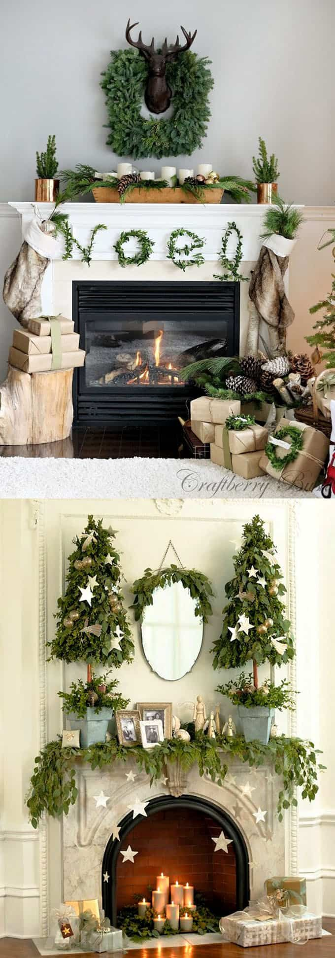 Christmas fireplace : 100+ Favorite Christmas decorating ideas & DIY Christmas decorations for every room, from the best Christmas home tours! Lots of great tips to apply to your own home easily! A Piece of Rainbow