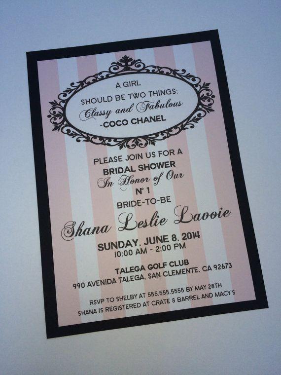 Artículos similares a Chanel fiesta de despedida de soltera, Baby Shower, cumpleaños, invitación de cena de ensayo en Etsy