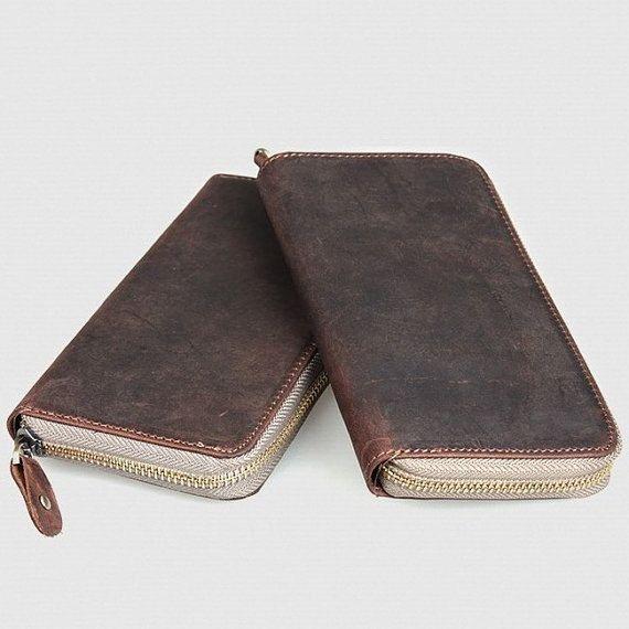 À la main Antique Leather Wallet / Checkbook Wallet / iPhone iPhone 4 4 s 5 s 5 5c sac à main
