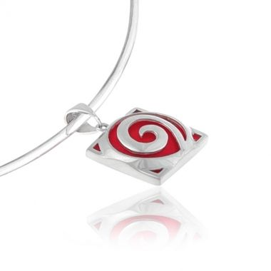 A sterling silver pendant featuring a deep red coral gemstone set in a Circle of Life, hand carved silver design. Symbol of infinity and the cyclical nature of life, in ancient Greece, this intense red coral stone mixed with the eye-catching silver circle, create a perfect pendant to wear at any occasion. Make simple yet stylish and graceful appearances, with only one piece of silver jewellery.