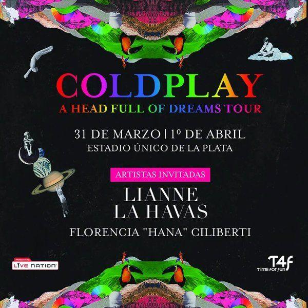 #COLDPLAY en #Argentina #ColdplayEnArgentina  16.00 Apertura de puertas 18.45 #HanaCiliberti  19.45 #LiannelaHavas  21.00 #Coldplay  #ERDMusicNews ®