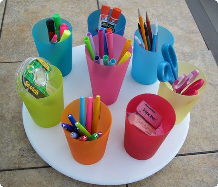 lazy susan for classroom supplies