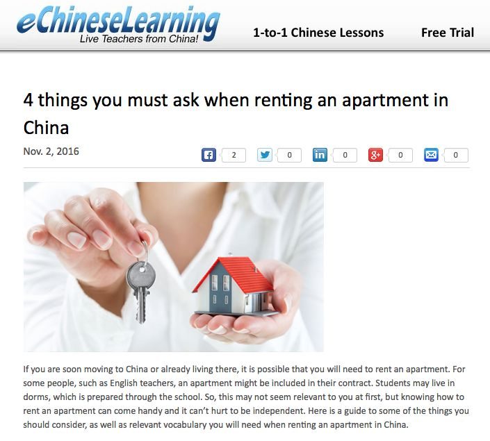 If you are soon moving to China or already living there, it is possible that you will need to rent an apartment. For some people, such as English teachers, an apartment might be included in their contract. Students may live in dorms, which is prepared through the school. So, this may not seem relevant to you at first, but knowing how to rent an apartment can come handy and it can't hurt to be independent.
