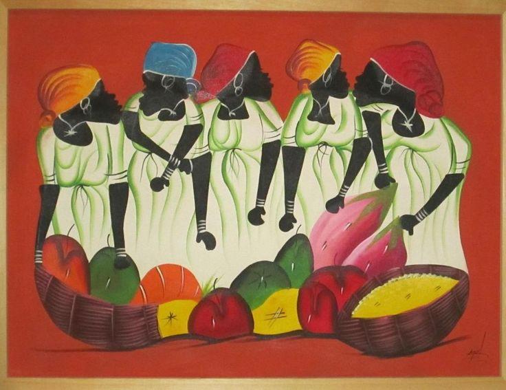 Dipinto Scuola Haitiana, originale, acrilico su canvas cm. 105x80 by F. Thomas