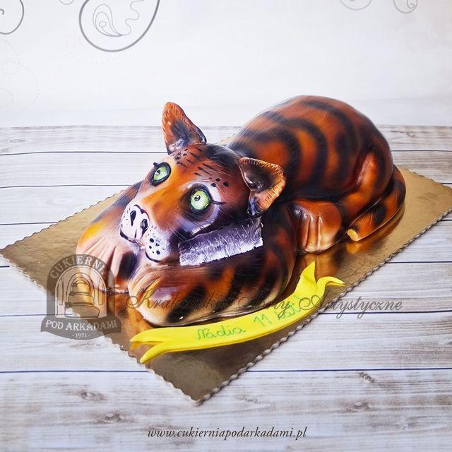 157BA Tort tygrys malowany aerografem.  Tiger cake.