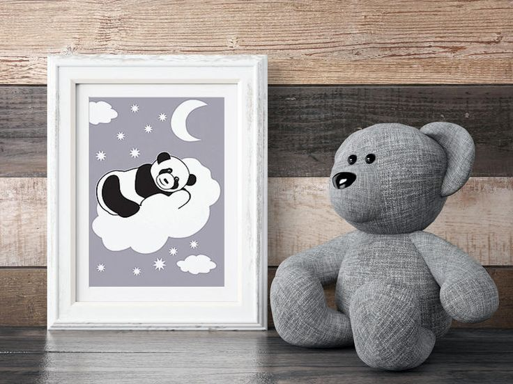 Black and white panda bear on background, Dot, For a newborn baby, For Kids, Birthday, Housewarming Gift, Home decor, Teddy bear, Animal by MerryGallery on Etsy