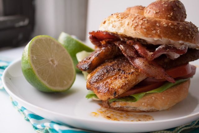 Lighter Cajun Tilapia Sandwich with Bacon & Lime Mayo | Can You Stay For Dinner?