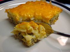 Quite possibly the easiest breakfast casserole I've ever made - with crescent rolls, hashbrowns and breakfast sausage!