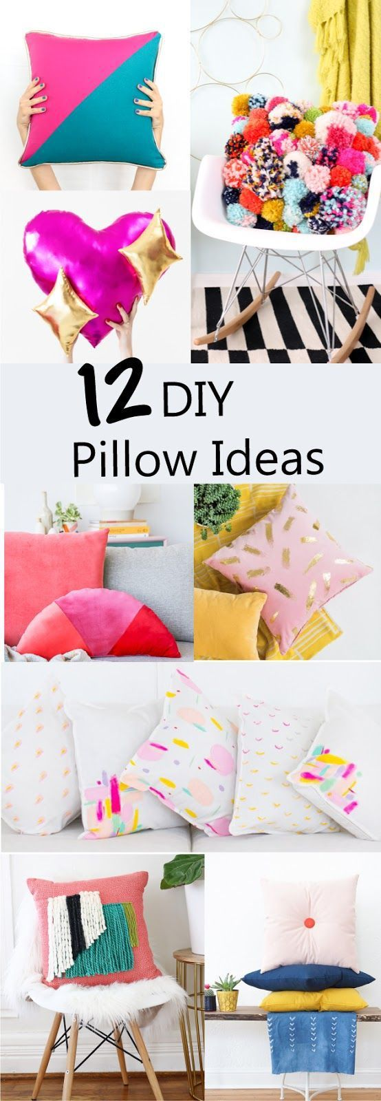 12 DIY Throw Pillow Ideas - How to sew a pillow - trendy modern pillows - home decor - pom poms - velvet - woven - emoji - pretzel - abstract art - craft ...