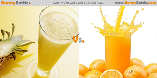 Pineapple Juice Vs Orange Juice. Which one is better for your health? #orange #pineapple #juice CLICK HERE TO VOTE: http://www.barmybattles.com/2014/02/18/pineapple-juice-vs-orange-juice/