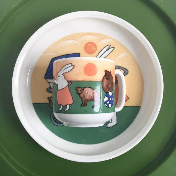 Vintage Arabia Finland children's mug and plate Bunny