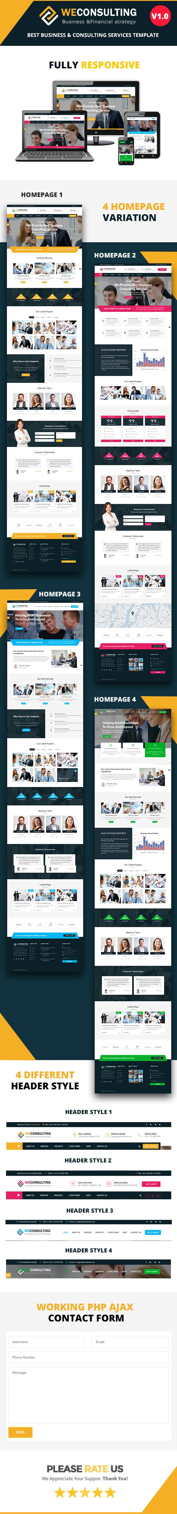 WECONSULTING - Financial Business & Consulting HTML Template by graphicrajkumar