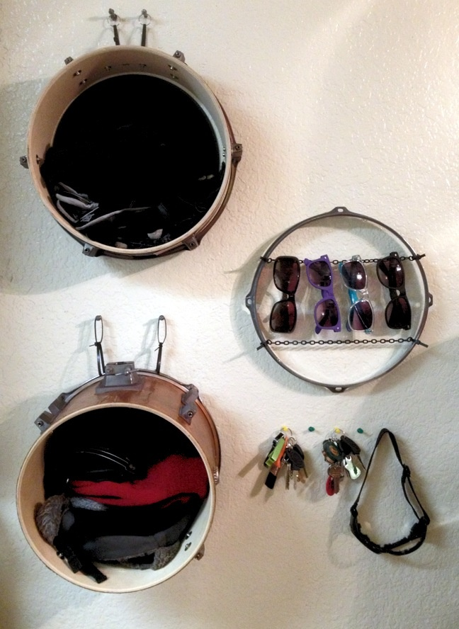 Use An Part Of An Old Drum Set As Shelves To Organize