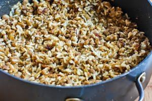 Lentils and Rice with carmalized onions