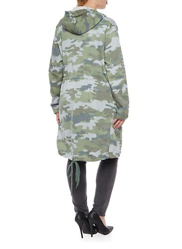 Plus Size Camo Top with Hood and Drawstring Waist,GREEN
