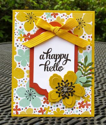 Krystal's Cards: Stampin' Up! Botanical Blooms Happy Hello #stampinup #krystals_cards #botanicalblooms #onlinecardclass