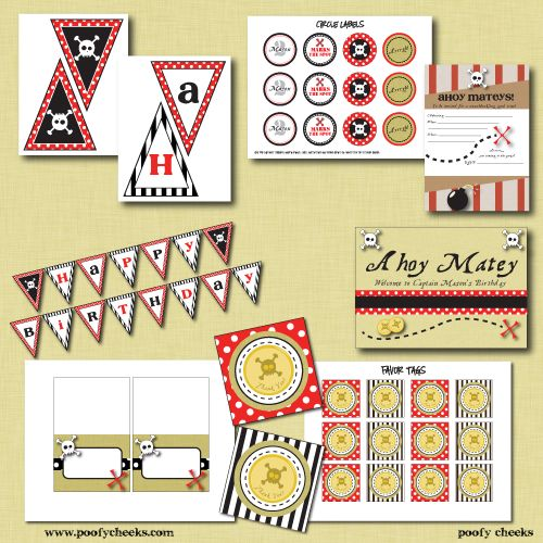 I wish I could talk my boys into a pirate party! How cute are these printables? And they're FREE!