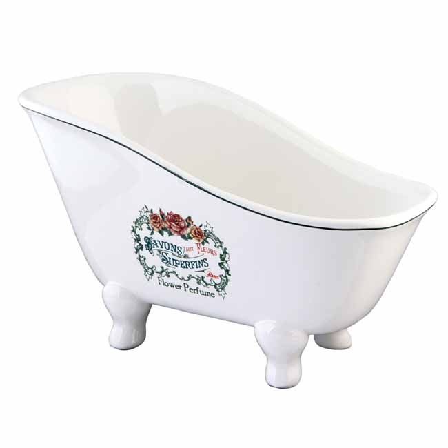 Classic White Finish 8 Inch Savons Superfins Ceramic Tub Kbs