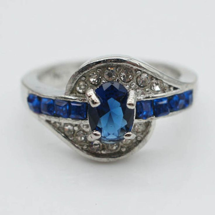Jewelry CZ rhinestone Rings For Women Rings Silver Plated Wedding Rings Female Blue Crystals Jewelry
