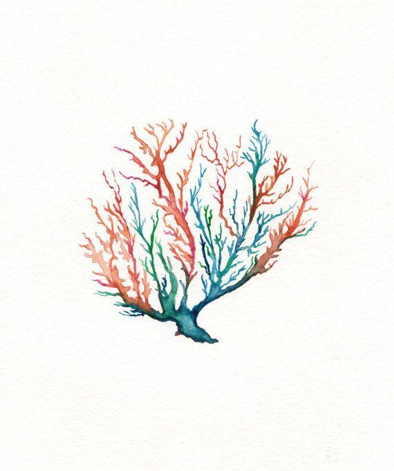 No. 5 Sea Coral  / Coral/ Teal/ Aqua/ Orange / Watercolor on Etsy, $20.00