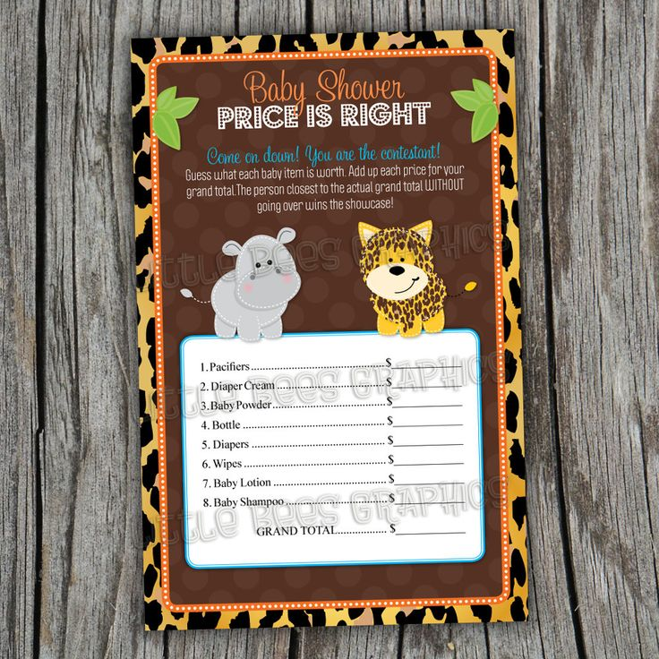 Price Is Right Game Cards    Leopard Jungle Safari Animals   PRINTABLE   Baby  Shower