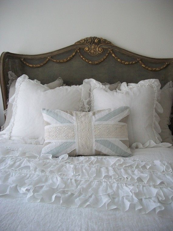 Pillows look fluffy and soft, and the comforter is very frilly, fluffy, and plush - Comforter set (accessory)