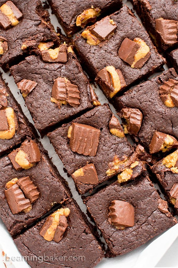 Gluten Free Vegan Peanut Butter Cup Brownies (V+GF): rich, fudgy, decadent brownies stuffed with delicious peanut butter cups. Vegan, Gluten Free, Dairy Free.