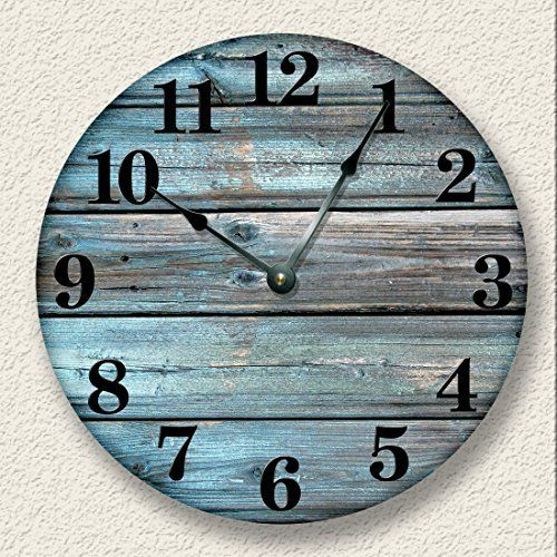 Weathered Boards Wall Clock Distressed Teal Rustic Cabin Wall Decor  #Boards #cabin #Clock #Décor #Distressed #Rustic #RusticWallClock #Teal #Wall #Weathered The Rustic Clock