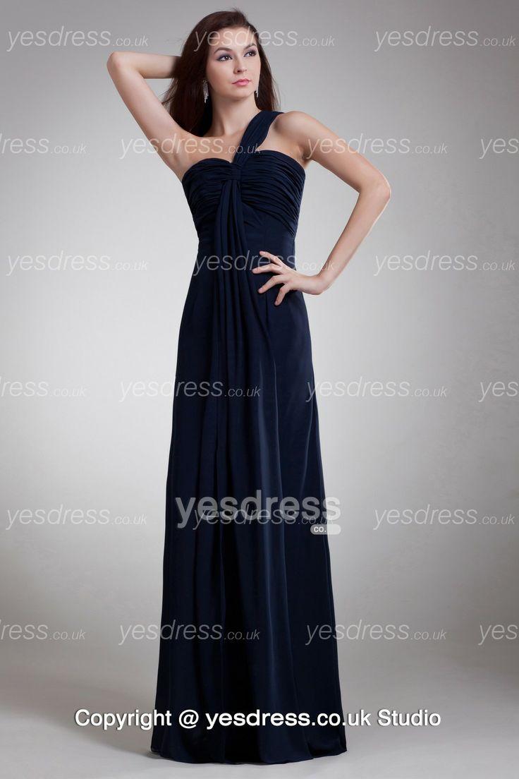 10 best beautiful bridesmaid dresses images on pinterest single strap a line long navy blue chiffon bridemaid dress yesbrides ombrellifo Gallery