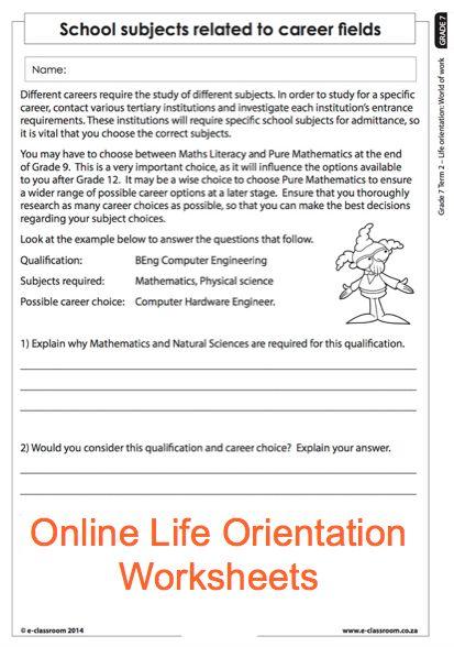 grade 7 online life orientation worksheets careers for more worksheets visit www e classroom. Black Bedroom Furniture Sets. Home Design Ideas