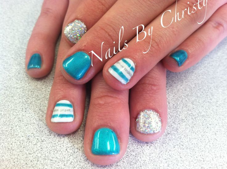 Fun Turquoise Striped Silver Sparkle Shellac Nails
