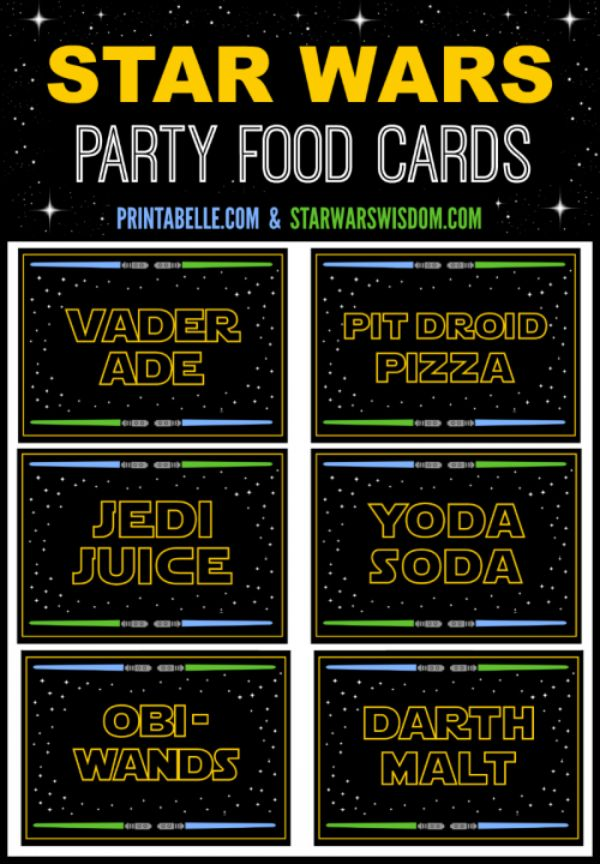 Star Wars Party Food Cards – Free Party Printables at Printabelle