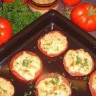 Gegratineerde tomaten met Old Amsterdam en rundergehakt