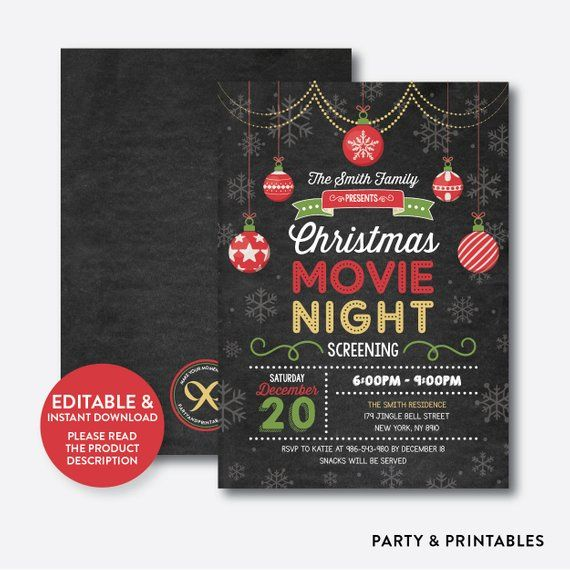 instant download editable christmas movie night invitation movie