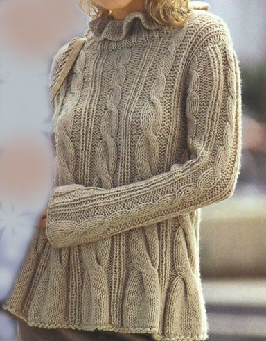 Hand Knit   Sweater   with Cables Made  from soft  by tvkstyle