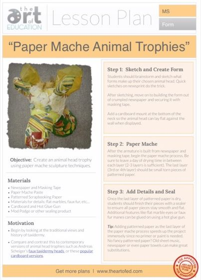 154 best paper mache images on pinterest paper crafts for Arts and crafts lesson plans for middle school