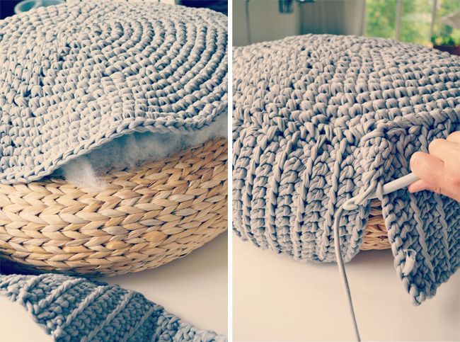 crochet pouff cover ~ pictorial tutorial.