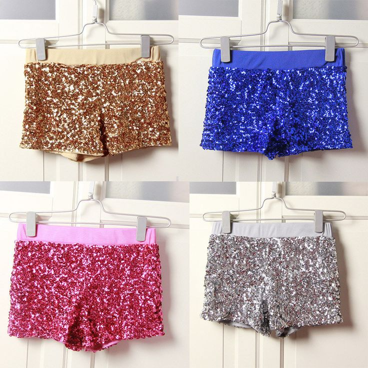 Elastic High Waist Sequins Booty Shorts