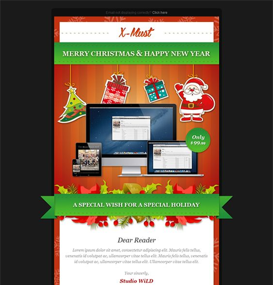 9 best More Christmas Holiday Landing Page \ Email Newsletter - holiday newsletter template